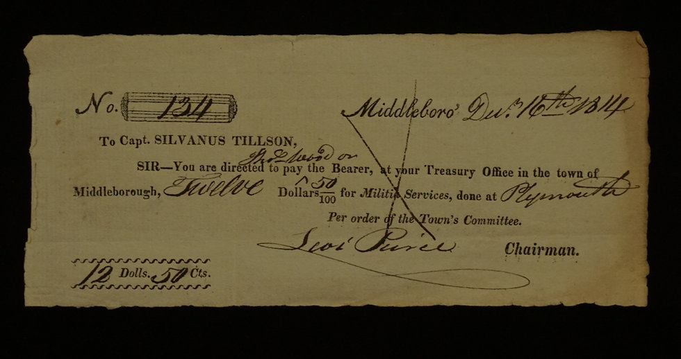 "1814 - Massachusetts ""War of 1812"" payment"