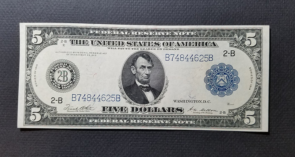 Fr. 851a $5 1914 Federal Reserve Note Extremely Fine - New York