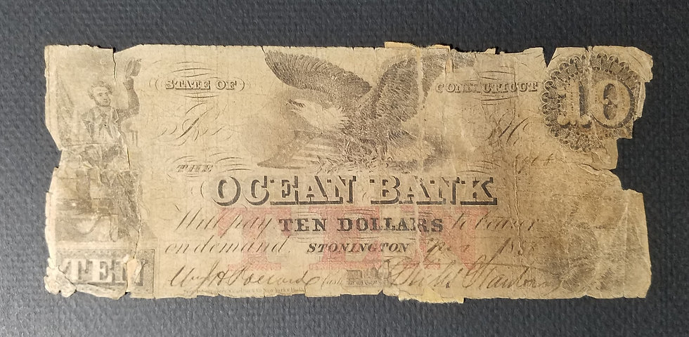 $10 Ocean Bank, Stonington CT Counterfeit Obsolete Banknote March 1858