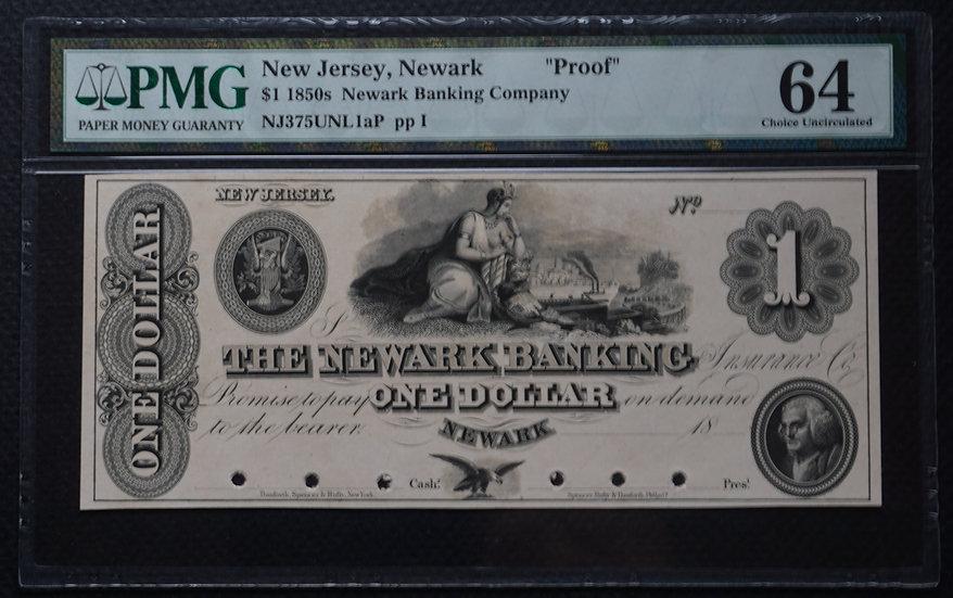 $1 The Newark Banking Insurance Co - Newark NJ Proof PMG 64