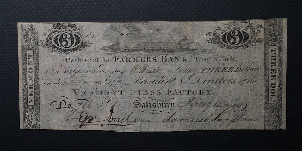 $3.00 Vermont Glass Factory Obsolete Bank Note