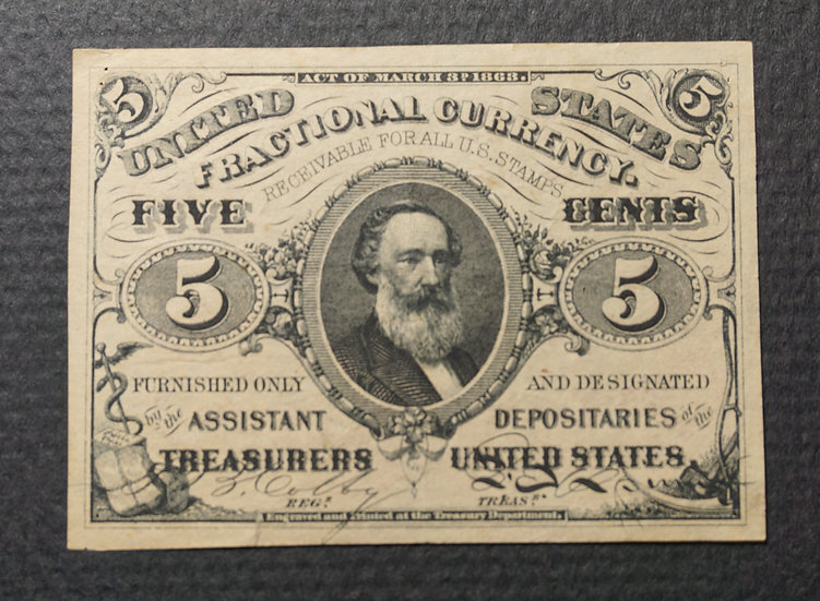 Fr. 1236 5¢ Third Issue Red Back - Fine