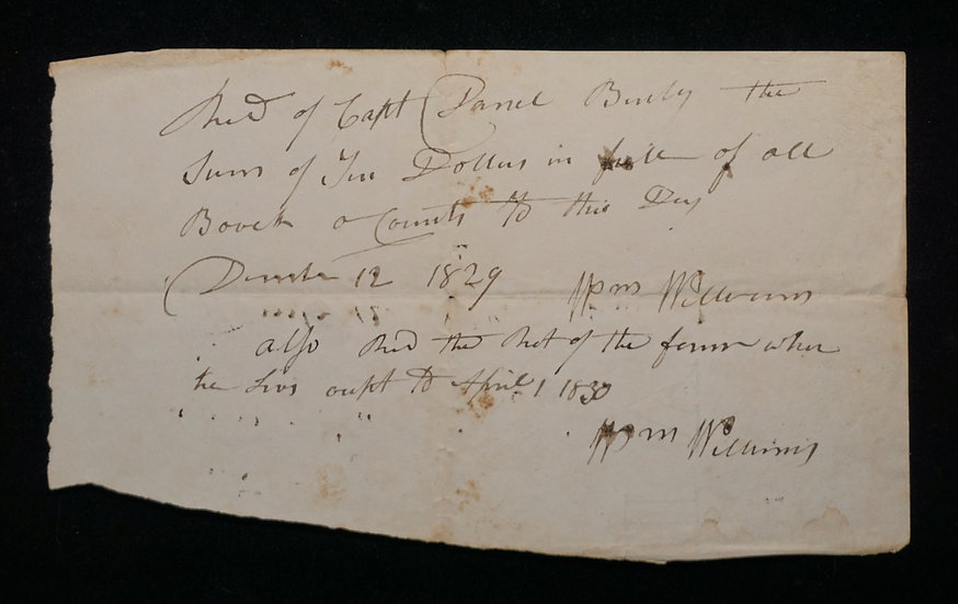 Dec 12, 1829 Receipt to Capt Daniel Burly