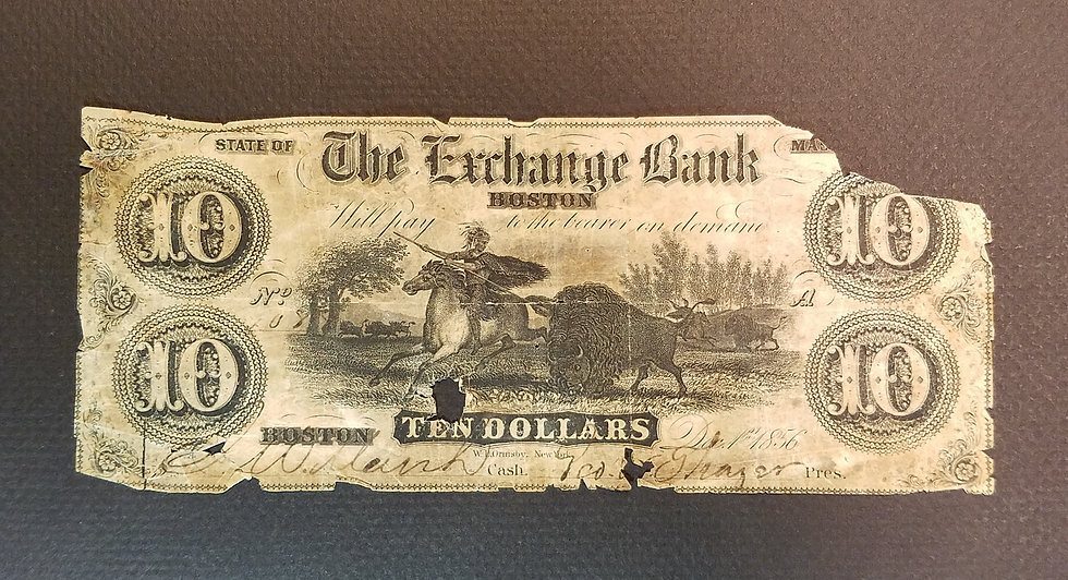 $10 The Exchange Bank Boston, MA Altered Obsolete Banknote