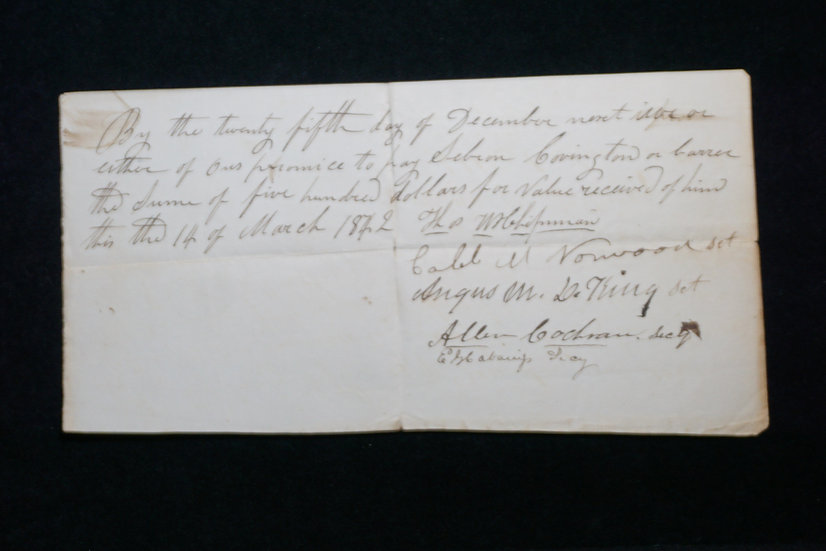 March 14, 1842 Promissory Note