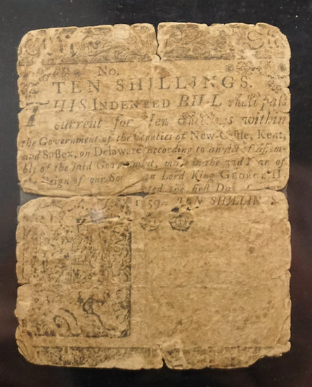 June 1, 1759 10s Delaware Colonial Currency PMG VG8 Net