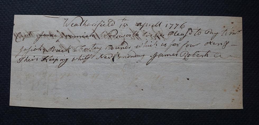 Wethersfield,  (CT) - Handwritten Payment Certificate April 14, 1776