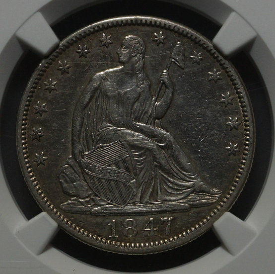 1847 Seated Liberty Large Letter - Half Dollar NGC XF (Cleaned)