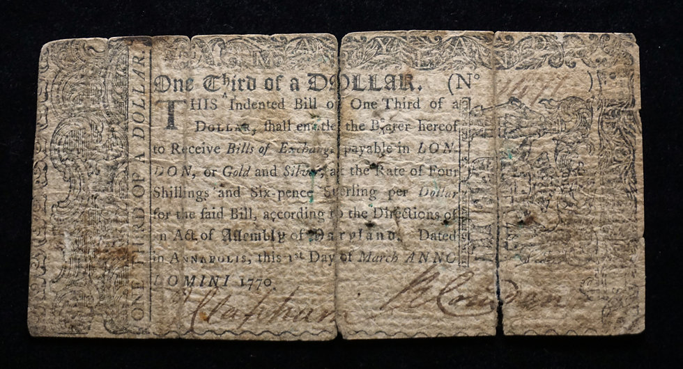 March 1, 1770 Maryland $1/3 Dollar 1s 6p MD-52 Colonial Note