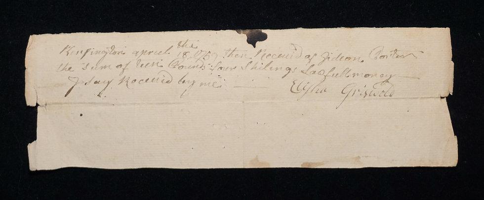 April 18, 1759 Kensington CT - Receipt for 2 Bushels of Wheat