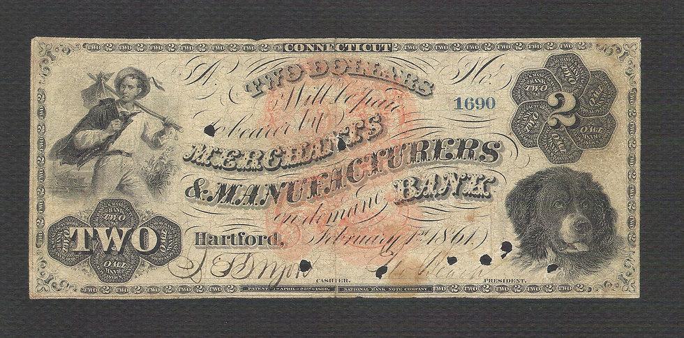 $2 Merchants & Manufacturers Bank Obsolete Bank Note Feb 1, 1861
