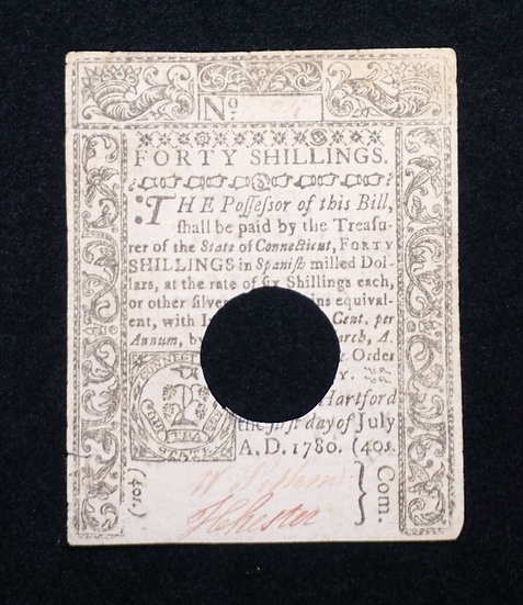 July 1, 1780 Connecticut 40 Shilling Note CT-240