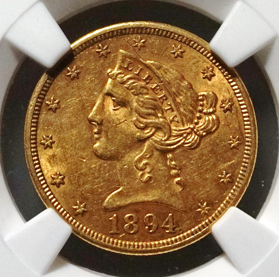 1894-S $5 Liberty Head Half Gold Eagle NGC AU58