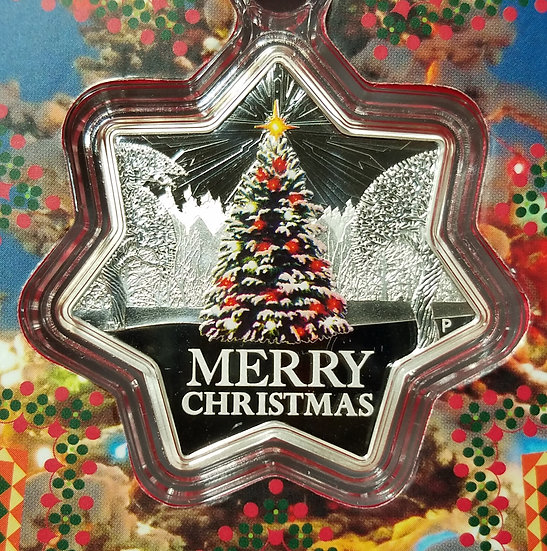2015 1 oz Australian Silver Star Shaped coin Christmas Tree