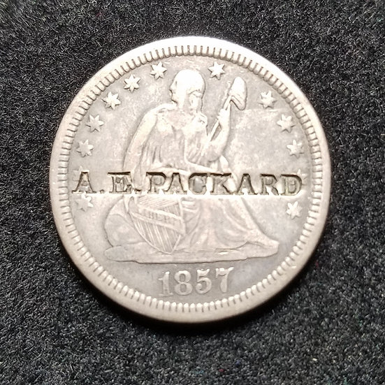 1857 Variety 1 Seated Quarter, Counterstamped A.E. PACKARD Ex  Partrick
