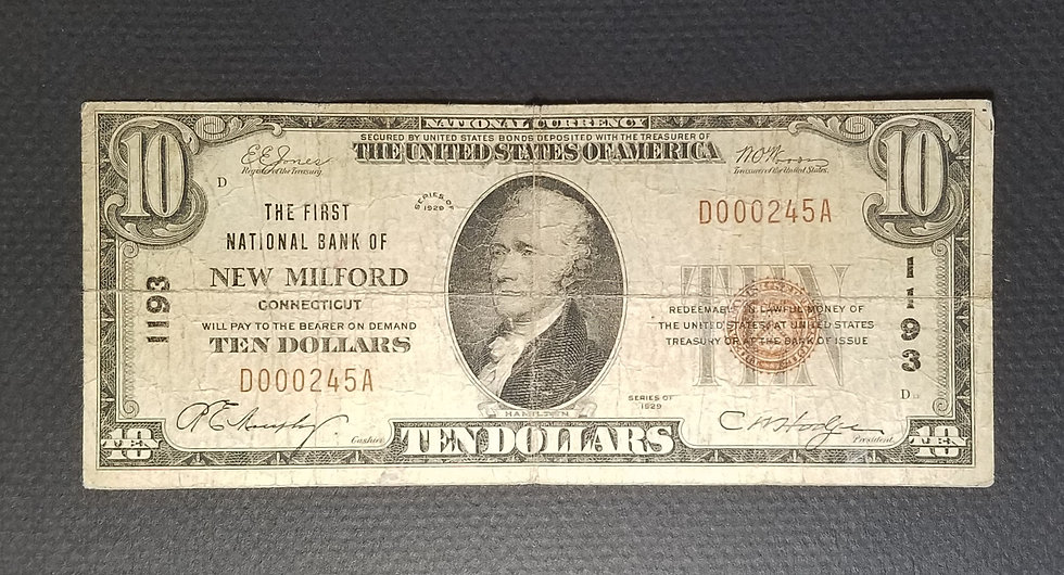$10 The First National Bank of New Milford, New Milford CT Charter #1193 Type I