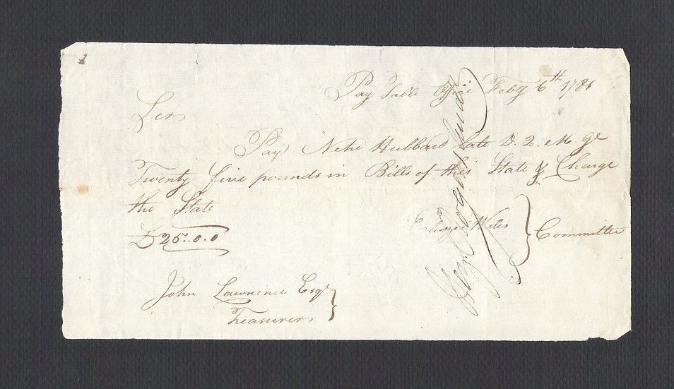 Feb 6, 1786 CT 25 Pound Handwritten Pay Table note made payable to Nehe Hubbard
