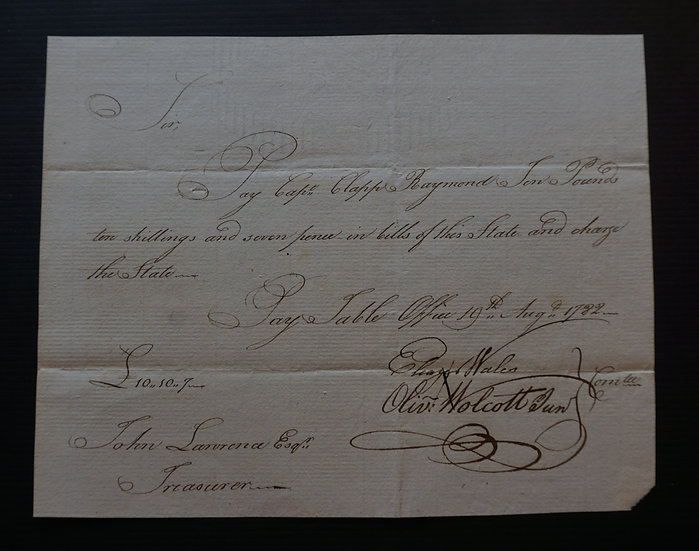 Aug 19, 1782  Hand Written CT Colonial Note Capt Clapp Raymond