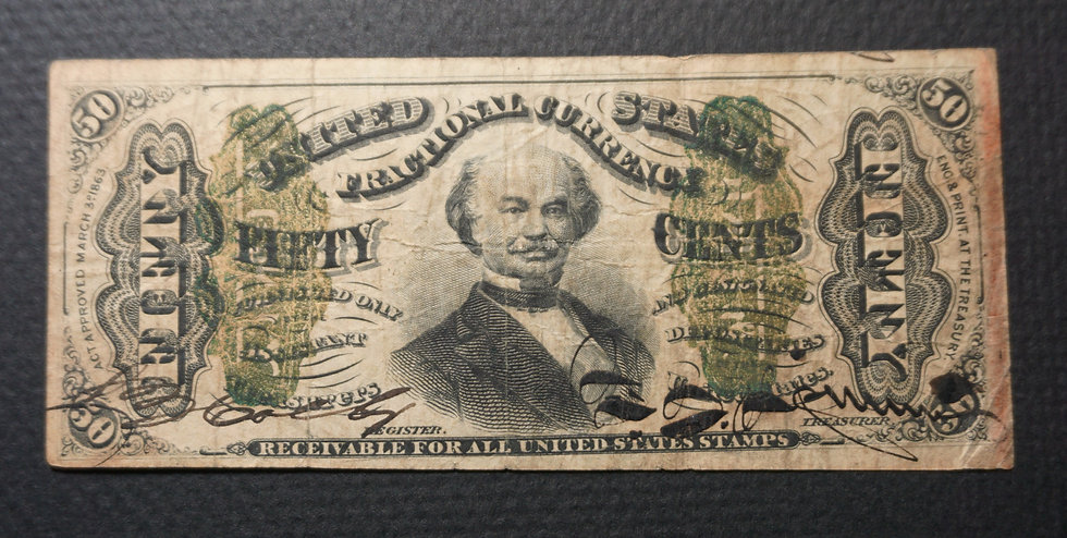 Fr. 1328 Hand Signed 50¢ Third Issue Spinner Note - Fine