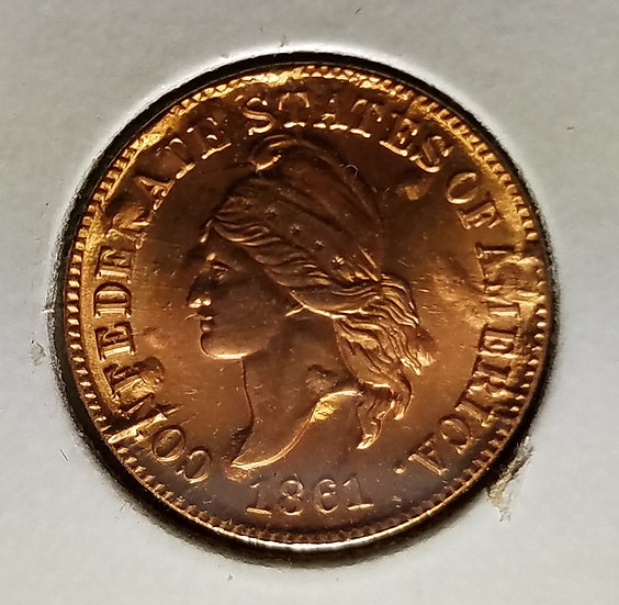 1861 - 1C Brasher Confederate Cent second restrike  Copper