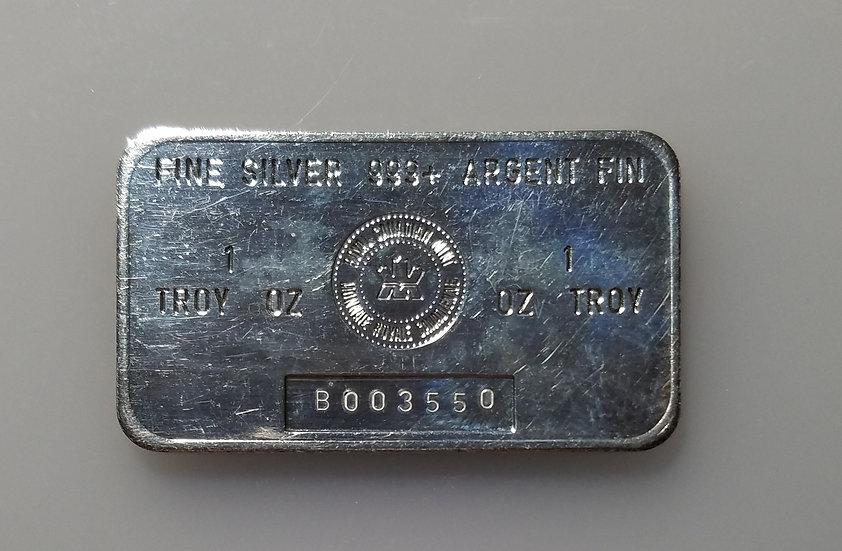 Royal Canadian Mint -  1 oz Silver Bar (B Series)