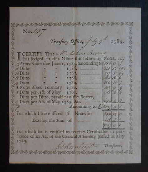 July 9, 1789 - State of Connecticut Treasury Office - Signed by Jedediah Hunting