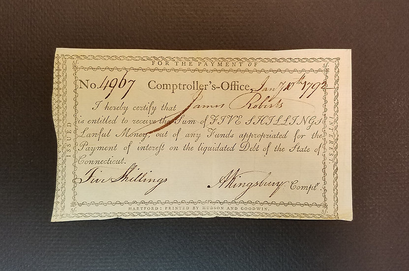 January 10, 1792 5 Shilling Interest Payment Certificate  Anderson CT-50