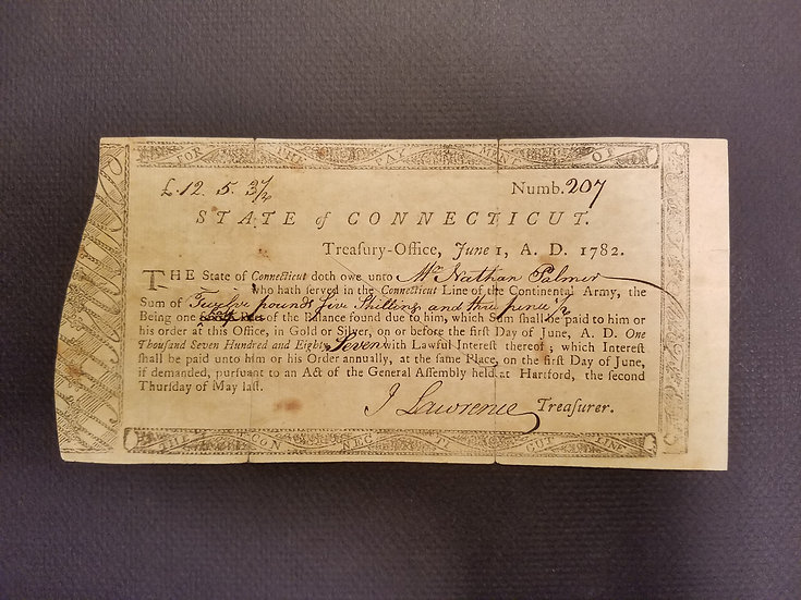June 1, 1782 - State of Connecticut Treasury Certificate Anderson CT-18