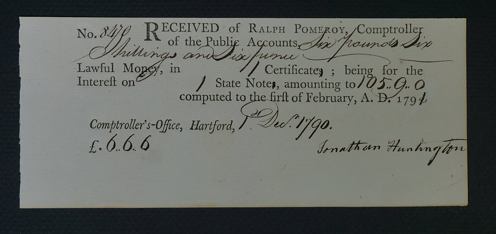 Feb 1, 1790 £6.6s.6d CT Colonial Note signed by Jonathan Huntington