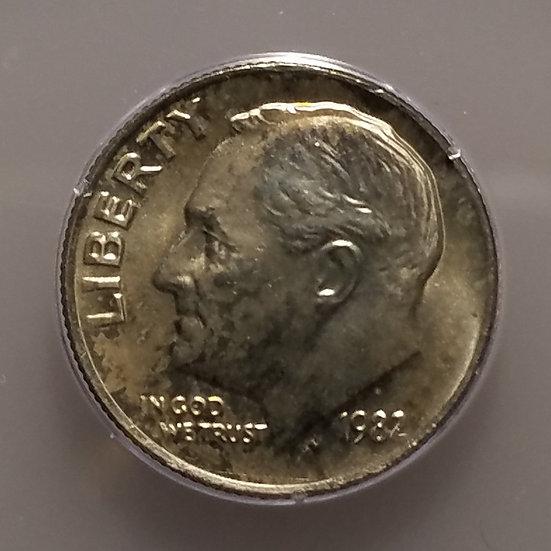 1982 No P 10¢ Roosevelt Dime PCGS MS65 OGH