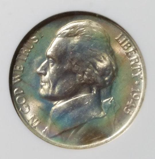 1945-P 5¢ Jefferson Wartime Nickel NGC MS66* 5FS
