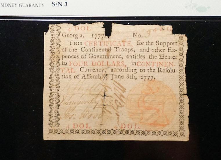 June 8, 1777 $4 Georgia Colonial Currency PMG Fine 12 GA-106b