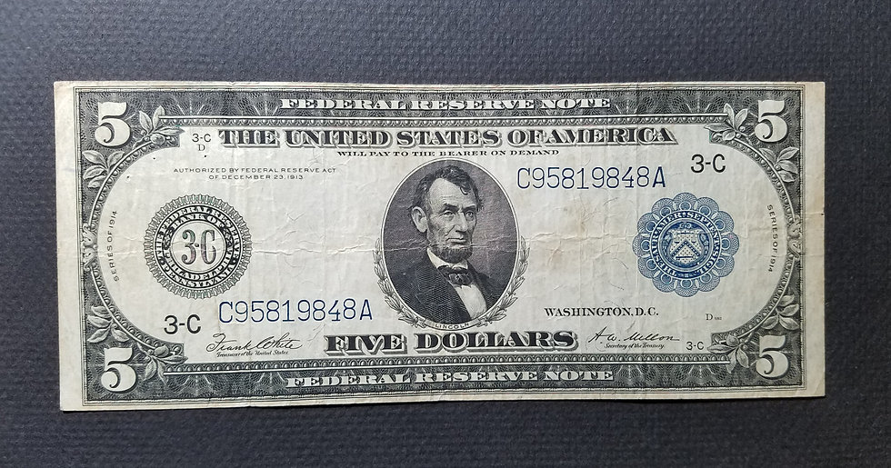 Fr. 855a $5 1914 Federal Reserve Note Very Fine - Philadelphia