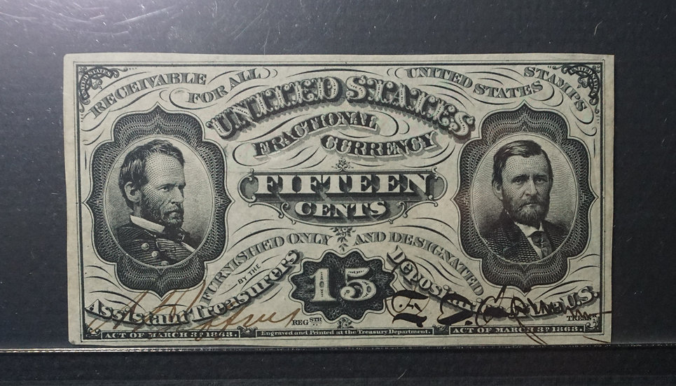 Fr 1274 spnmf 15¢ Hand Signed Fractional Currency Third issue PMG GEM66 EPQ