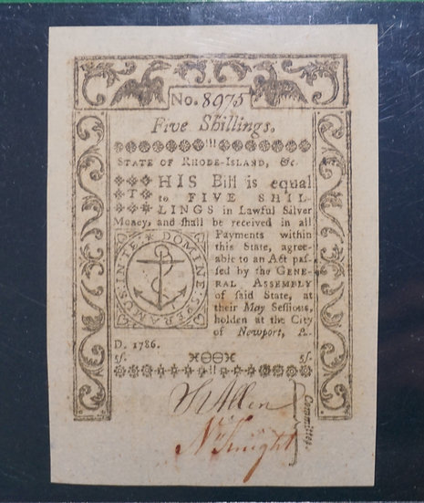 May 1786 5s Rhode Island Colonial Currency PCGS GEM New 65PPQ