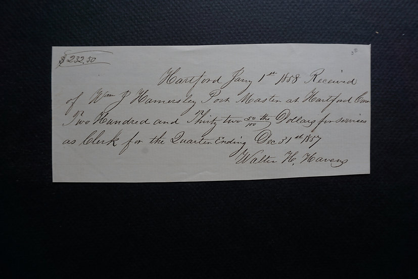December 31, 1857 Postmaster Payment Note