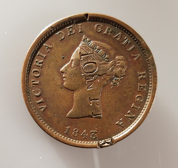 "One Penny 1843 Token New Brunswick Canada Counter Stamped ""Union Pipe"""
