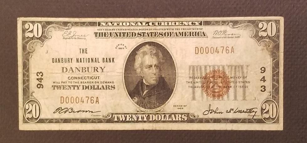 $20 The Danbury National Bank, Danbury Charter #943 Type I