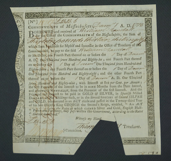 Dec. 7, 1783 Massachusetts Interest Due Treasury Certificate £13.13s.6d