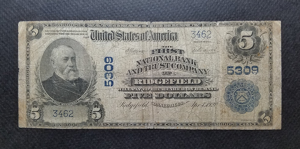 $5 The First National Bank and Trust Company Ridgefield CT Charter #5309