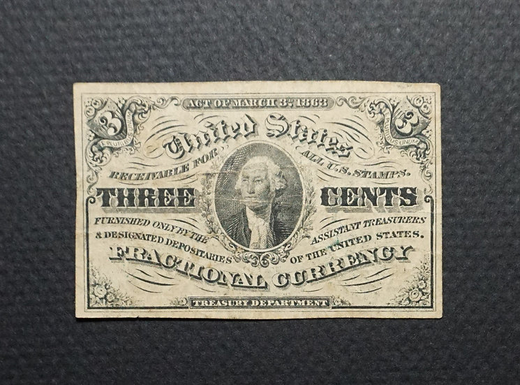Fr 1227 3¢ Dark Curtain Third Issue Fractional Currency