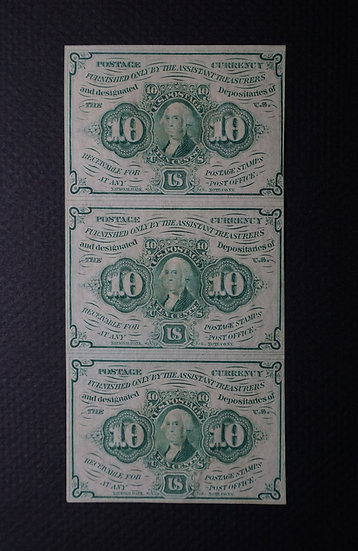 Fr 1242 10¢ First Issue Vertical Strip of 3 AU