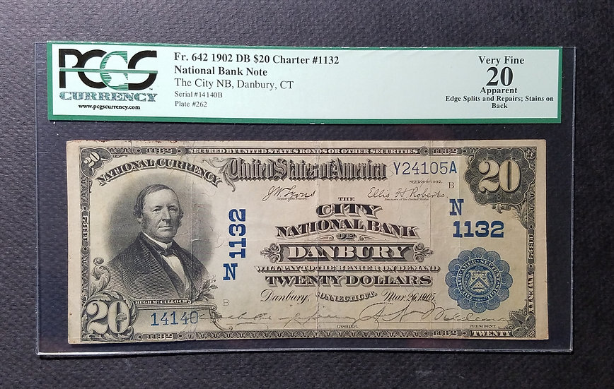 $20 1902 The City National Bank, Danbury, CT Ch #1132 Large Size Date Back PCGS