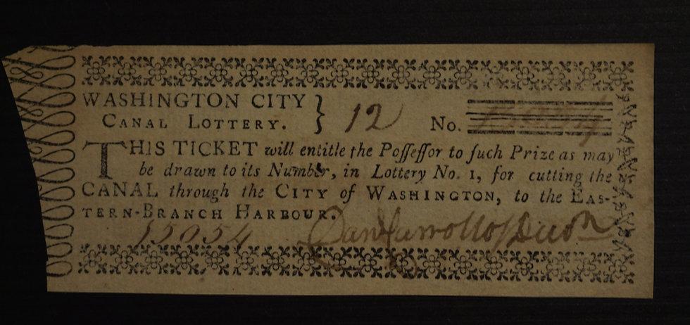 1796 - Washington, DC - Washington City Canal Lottery Lottery Ticket