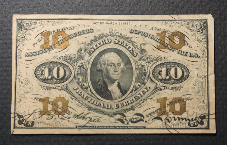 Fr. 1255 10¢ Third Issue Green Back - Very Fine