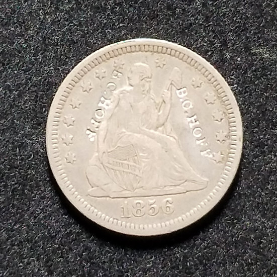 1856 Variety 1 Seated Quarter, Counterstamped twice B.C. HOFF Ex  Partrick