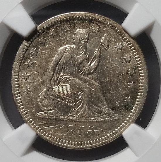 1855 25¢ Seated Liberty Quarter Arrows NGC AU50