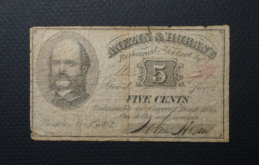 5¢ Anezin & Huran's Restaurant 5¢ Nov. 1, 1862