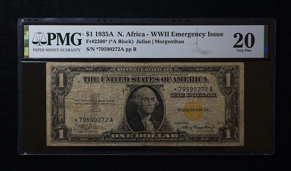 $1 1935-A North African Star Note PMG VF20 Fr 2306*