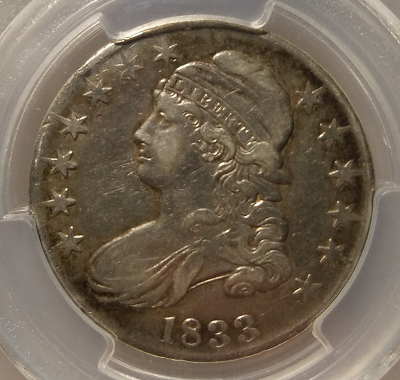 1833 Capped Bust Lettered Edge Half Dollar PCGS VF35